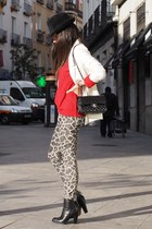 black Zara boots - red Zara sweater - white Pull & Bear blazer