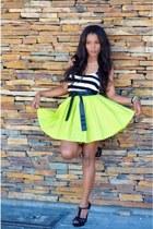 chartreuse DIY skirt - black Bershka shirt - white maripaz heels - white heels