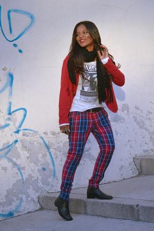 red Sisley pants
