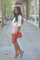 red Chanel bag - DIY shorts - white Massimo Dutti blouse