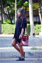 black Zara blouse - brick red vintage bag