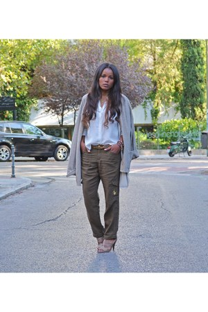 white Bel Air blouse - army green baby phat pants