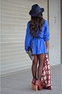 Maroon-maripaz-boots-blue-mulaya-dress-navy-zara-hat