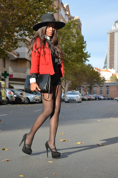 red Cortefiel jacket - black fama shoes - black H&M hat