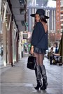 Nude-zara-boots-black-h-m-hat-black-vintage-bag-black-cristian-lay-shorts
