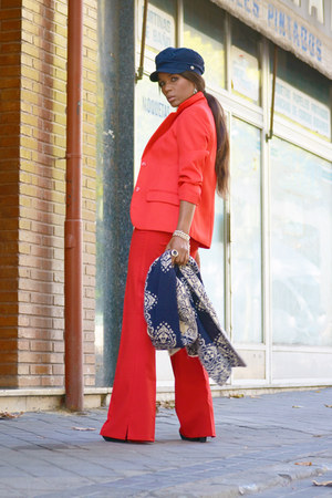 red Massimo Dutti blazer - navy Vicosta bag - red Bershka pants