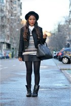 black Mustang boots - black H&M hat - black Zara jacket - black Mango bag