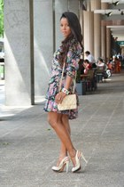 chartreuse vintage dress - bubble gum Zara shoes - off white Chanel bag