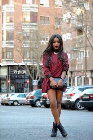 black Mustang boots - maroon DIY dress