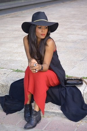 Bershka hat - Mulaya boots - red Promod dress - black el corte ingles vest
