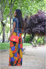 Yellow-chanel-bag-red-diy-skirt-blue-burberry-blouse