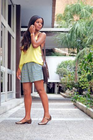 yellow H&M top - brown Hermes bag