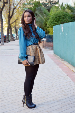 bronze DIY skirt - blue el corte ingles shirt