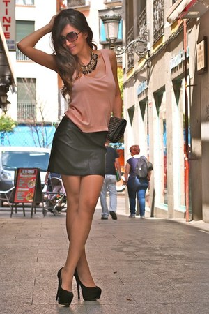 black Zara skirt - light pink Zara blouse