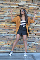 orange H&M blazer - black pepa loves shorts - white Bershka top
