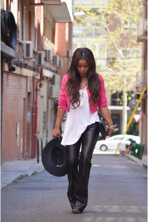 black Zara pants - Bershka hat - hot pink vintage jacket - white Zara t-shirt
