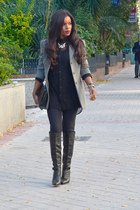 black el corte ingles blouse - black Zara boots - heather gray armani blazer