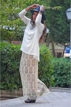 Uterque blouse - navy Zara hat - ivory DIY shirt