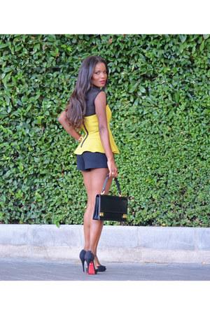 black Mustang shoes - black Zara shorts - lime green H&M blouse