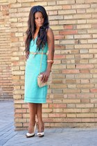 cream Zara shoes - aquamarine Zara dress - cream Chanel bag