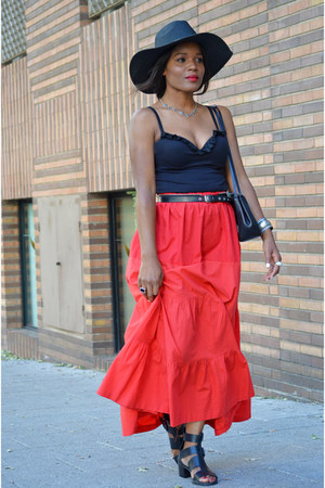 red DIY skirt - black intimisimi bodysuit - Bershka sandals