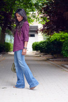 maroon Sfera blouse - olive green Zara bag - sky blue Zara pants