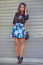 black Chanel t-shirt - sky blue vintage skirt