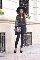 olive green vintage cardigan - black fama shoes - black H&M hat