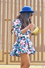Yellow-hazel-shoes-bubble-gum-vintage-dress-blue-h-m-hat