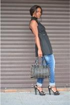 black Promod vest - sky blue Zara jeans - black maripaz sandals