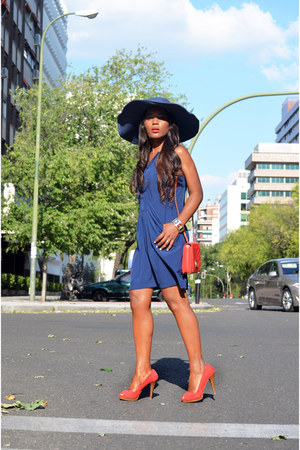 red Chanel bag - Zara shoes - blue juan blanco dress