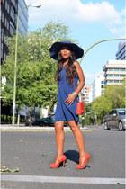red Chanel bag - Zara shoes - blue juan blanco dress