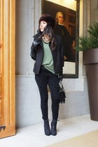 black Zara leggings - black Comptoir des cotonniers jacket - green Zara t-shirt