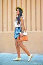 blue vintage shorts - light blue Bimba & Lola shoes - camel desigual hat