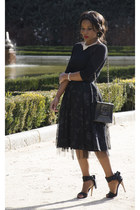black Chanel bag - black paparazzi skirt - black Zara blouse