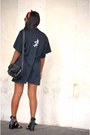 White-zara-shorts-black-bershka-top-black-bershka-sandals