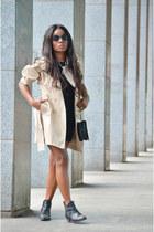 neutral Naf Naf coat - black DIY dress - Chanel bag