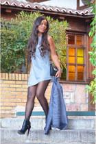 black Zara boots - light blue Zara dress - sky blue Zara blazer