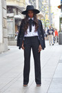 Black-h-m-hat-d-g-blazer-white-zara-shirt-zara-pants
