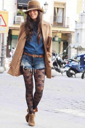 Zara boots - Stradivarius coat - klin hat - Zara shirt - Zara shorts