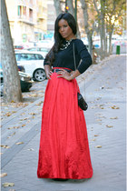 red DIY skirt - black Mango bag - black Mango blouse