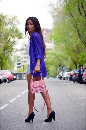 blue vintage blazer - navy Bershka shoes - bubble gum Guess bag