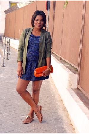 navy Mango dress - dark khaki Zara blazer
