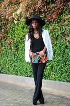 black Mango bodysuit - white Mango blazer