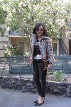 faux fur Kenna-T coat - faded black Zara jeans - monogram Louis Vuitton purse