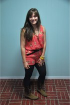 coral Urban Outfitters jumper - dark brown Cowboy Boots boots
