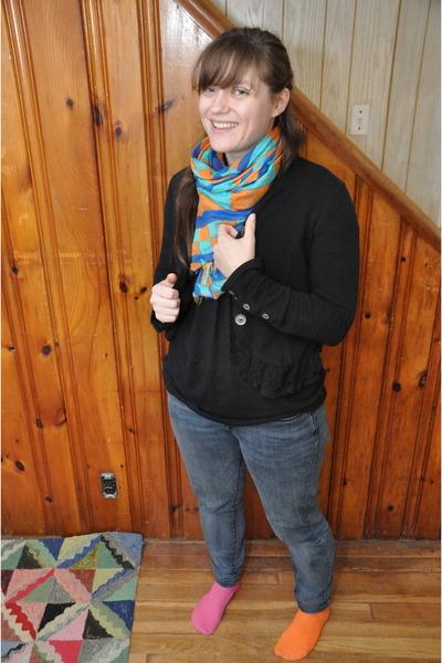 sky blue Urban Outfitters scarf - navy denim Levis jeans - black Target jacket