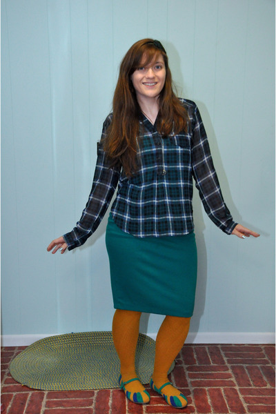 teal Target skirt - navy modcloth shirt - mustard H&amp;M stockings