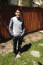 navy Gap jeans - dark brown boat sperry shoes - navy striped Gap shirt