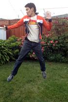 orange track ben sherman jacket - navy Gap jeans - blue Diesel sneakers